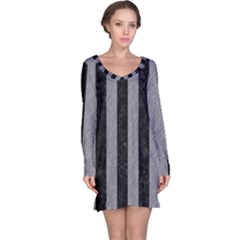 Stripes1 Black Marble & Gray Colored Pencil Long Sleeve Nightdress