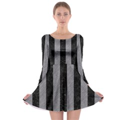 Stripes1 Black Marble & Gray Colored Pencil Long Sleeve Skater Dress