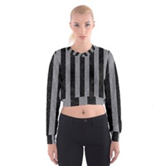 Stripes1 Black Marble & Gray Colored Pencil Cropped Sweatshirt