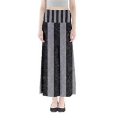 Stripes1 Black Marble & Gray Colored Pencil Full Length Maxi Skirt