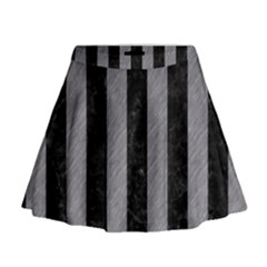 Stripes1 Black Marble & Gray Colored Pencil Mini Flare Skirt