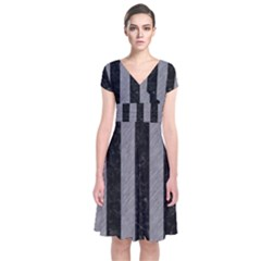 Stripes1 Black Marble & Gray Colored Pencil Short Sleeve Front Wrap Dress