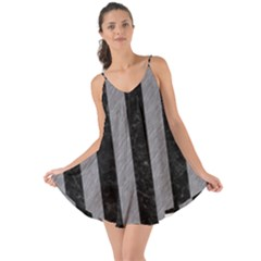 Stripes1 Black Marble & Gray Colored Pencil Love The Sun Cover Up