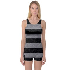 Stripes2 Black Marble & Gray Colored Pencil One Piece Boyleg Swimsuit