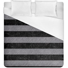 Stripes2 Black Marble & Gray Colored Pencil Duvet Cover (king Size)