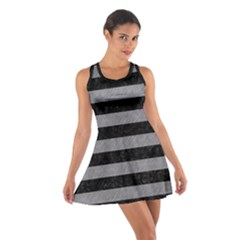 Stripes2 Black Marble & Gray Colored Pencil Cotton Racerback Dress