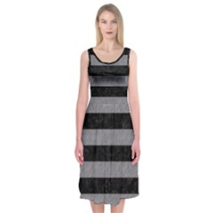 Stripes2 Black Marble & Gray Colored Pencil Midi Sleeveless Dress