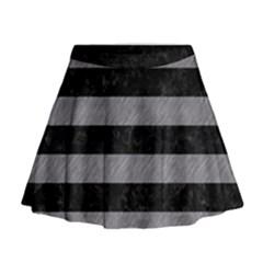 Stripes2 Black Marble & Gray Colored Pencil Mini Flare Skirt