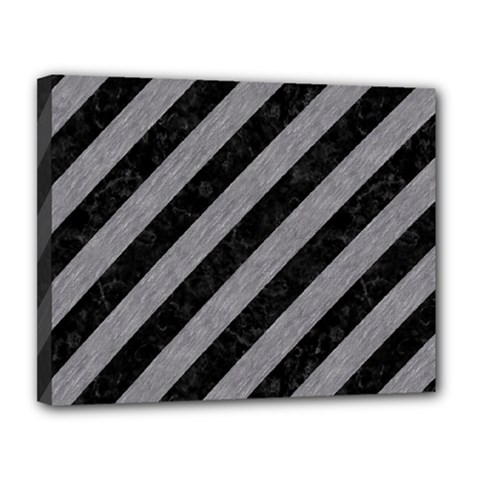 Stripes3 Black Marble & Gray Colored Pencil Canvas 14  X 11