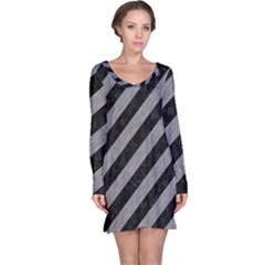 Stripes3 Black Marble & Gray Colored Pencil Long Sleeve Nightdress