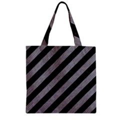 Stripes3 Black Marble & Gray Colored Pencil Zipper Grocery Tote Bag