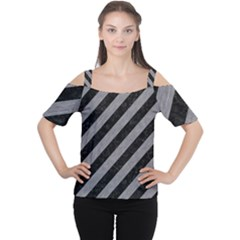 Stripes3 Black Marble & Gray Colored Pencil Cutout Shoulder Tee