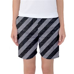 Stripes3 Black Marble & Gray Colored Pencil Women s Basketball Shorts