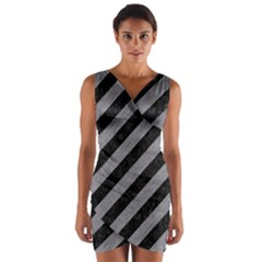 Stripes3 Black Marble & Gray Colored Pencil Wrap Front Bodycon Dress