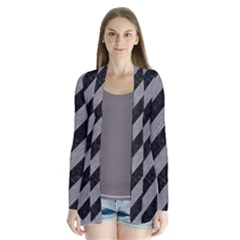 Stripes3 Black Marble & Gray Colored Pencil Drape Collar Cardigan