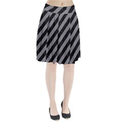 Stripes3 Black Marble & Gray Colored Pencil Pleated Skirt