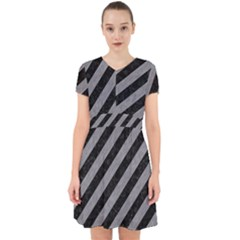 Stripes3 Black Marble & Gray Colored Pencil Adorable In Chiffon Dress