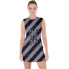 Stripes3 Black Marble & Gray Colored Pencil Lace Up Front Bodycon Dress
