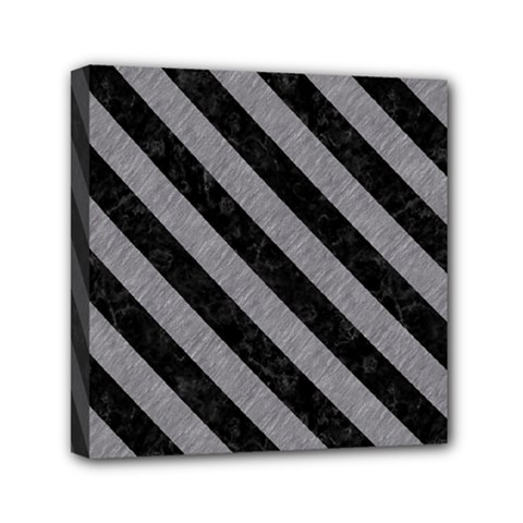 Stripes3 Black Marble & Gray Colored Pencil (r) Mini Canvas 6  X 6