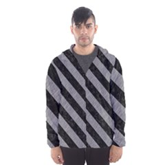 Stripes3 Black Marble & Gray Colored Pencil (r) Hooded Wind Breaker (men)