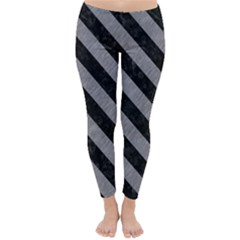 Stripes3 Black Marble & Gray Colored Pencil (r) Classic Winter Leggings