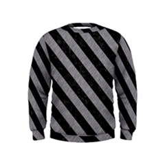 Stripes3 Black Marble & Gray Colored Pencil (r) Kids  Sweatshirt