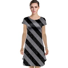 Stripes3 Black Marble & Gray Colored Pencil (r) Cap Sleeve Nightdress