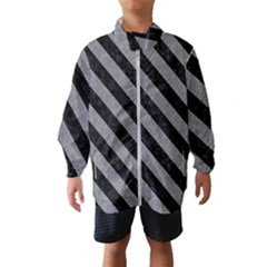 Stripes3 Black Marble & Gray Colored Pencil (r) Wind Breaker (kids)