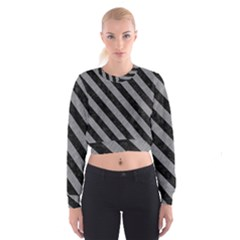 Stripes3 Black Marble & Gray Colored Pencil (r) Cropped Sweatshirt