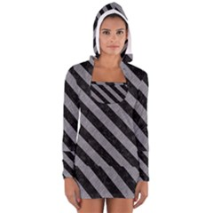 Stripes3 Black Marble & Gray Colored Pencil (r) Long Sleeve Hooded T Shirt