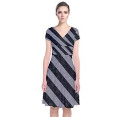 Stripes3 Black Marble & Gray Colored Pencil (r) Short Sleeve Front Wrap Dress