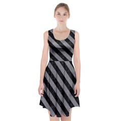 Stripes3 Black Marble & Gray Colored Pencil (r) Racerback Midi Dress