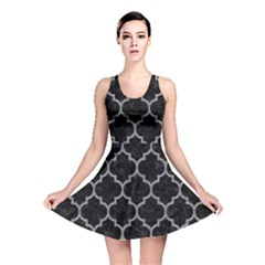 Tile1 Black Marble & Gray Colored Pencil Reversible Skater Dress