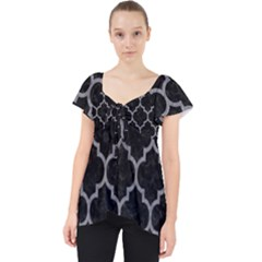 Tile1 Black Marble & Gray Colored Pencil Lace Front Dolly Top