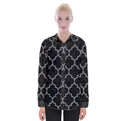 Tile1 Black Marble & Gray Colored Pencil Womens Long Sleeve Shirt