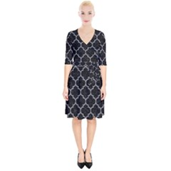 Tile1 Black Marble & Gray Colored Pencil Wrap Up Cocktail Dress