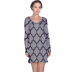 Tile1 Black Marble & Gray Colored Pencil (r) Long Sleeve Nightdress