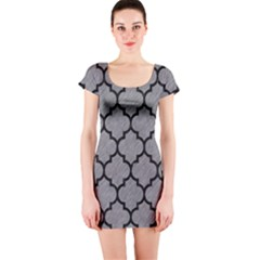 Tile1 Black Marble & Gray Colored Pencil (r) Short Sleeve Bodycon Dress