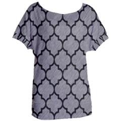 Tile1 Black Marble & Gray Colored Pencil (r) Women s Oversized Tee