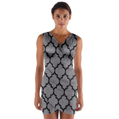 Tile1 Black Marble & Gray Colored Pencil (r) Wrap Front Bodycon Dress