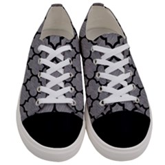 Tile1 Black Marble & Gray Colored Pencil (r) Women s Low Top Canvas Sneakers