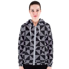 Triangle1 Black Marble & Gray Colored Pencil Women s Zipper Hoodie