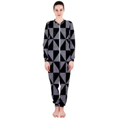 Triangle1 Black Marble & Gray Colored Pencil Onepiece Jumpsuit (ladies)