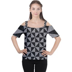 Triangle1 Black Marble & Gray Colored Pencil Cutout Shoulder Tee