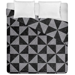 Triangle1 Black Marble & Gray Colored Pencil Duvet Cover Double Side (california King Size)