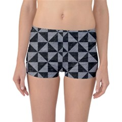 Triangle1 Black Marble & Gray Colored Pencil Reversible Boyleg Bikini Bottoms