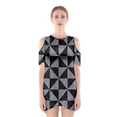 Triangle1 Black Marble & Gray Colored Pencil Shoulder Cutout One Piece