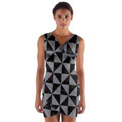 Triangle1 Black Marble & Gray Colored Pencil Wrap Front Bodycon Dress