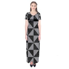Triangle1 Black Marble & Gray Colored Pencil Short Sleeve Maxi Dress