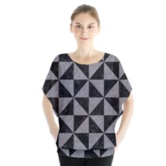 Triangle1 Black Marble & Gray Colored Pencil Blouse